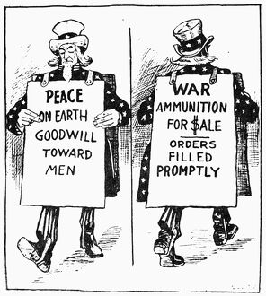 CARTOON: U.S. NEUTRALITY. Satirical American cartoon comment, c1917, on Uncle Sam's