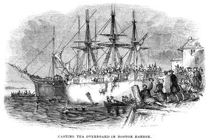 Casting tea overboard in Boston Harbor, 16 December 1773. Wood engraving, American, 1851.