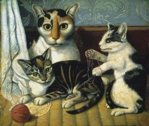 CAT & KITTENS. Oil on board. American, 19th century, anonymous.