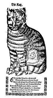 cats/cat woodcut german late 16th century