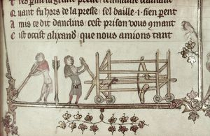 CATAPULT, 14th CENTURY. Military engineers with a catapult