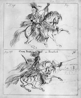 CATLIN: CHIEFS ON HORSEBACK. The Sauk chief Keokuk (top), and a Crow chief, both
