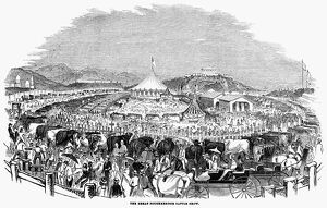 CATTLE SHOW, 1844. 'The Great Poughkeepsie Cattle Show.' Engraving, 1844