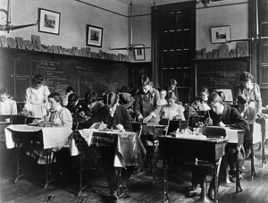 CERAMICS CLASS, 1899. A ceramics class at Western High School in Washington, D
