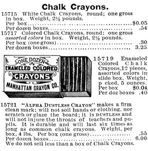 CHALK CRAYON ADVERTISEMENT. American catalogue advertisement, 1895
