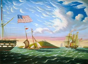 CHAMBERS: BOSTON. 'Boston Harbor.' Oil on canvas by Thomas Chambers, mid-19th