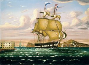 fine art/chambers new york packet ship passing castle
