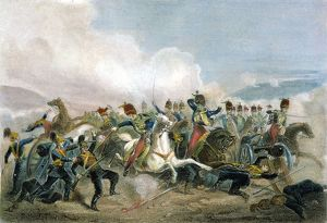 CRIMEAN WAR. The Charge of the British Light Cavalry Brigade at Balaclava, Crimea, Oct