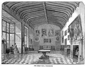 CHARLECOTE PARK, 1847. The Great Hall in Charlecote Park, near Stratford-on-Avon, England