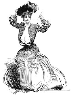 Charles Dana Gibson (1867-1944). American illustrator. A Gibson Girl fastening her hat