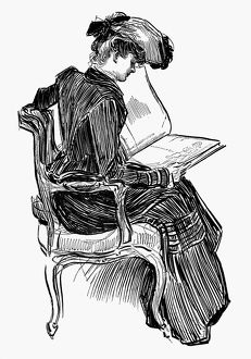 Charles Dana Gibson (1867-1944). American illustrator. Pen and ink drawing.