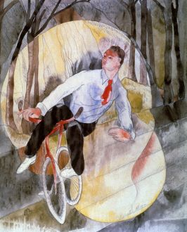 CHARLES DEMUTH. 'Vaudeville/Bicycle Rider'. Watercolor, 1919.