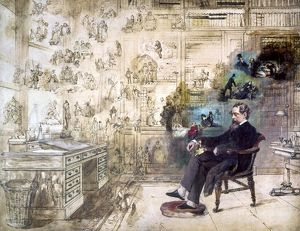 CHARLES DICKENS (1812-1870). English novelist. 'Dickens' Dream.' Unfinished oil painting by Robert William Buss, 1870s.