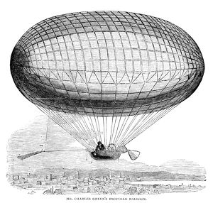 Charles Green's proposed design for a hot air balloon. Wood engraving, American, 1857.