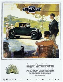 CHEVROLET AD, 1927. Chevrolet automobile advertisement from an American magazine, 1927.