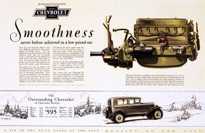 CHEVROLET AD, 1929. Chevrolet automobile advertisement from an American magazine, 1929.