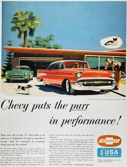 CHEVROLET AD, 1957. Chevrolet automobile advertisement from an American magazine, 1957.