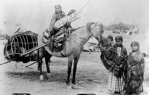 CHEYENNE FAMILY, 1889. The family of Stump Horn, a Northern Cheyenne scout: A girl
