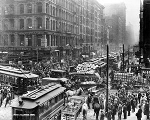 CHICAGO: TRAFFIC, 1909. Congested traffic on Dearborn Street, Chicago, Illinois