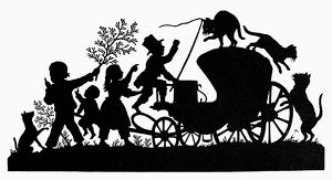 CHILDREN PLAYING. 19th century silhouette.