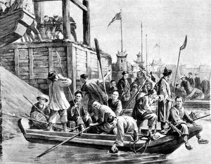 CHINA: BOXER REBELLION. Boxers from the interior traveling along the Grand Canal
