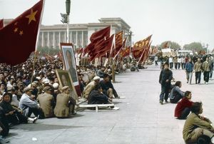 CHINA: CULTURAL REVOLUTION. Youthful Red Guards demonstrating in Tiananmen Square in Peking