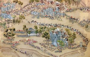 Chinese government forces attacking a rebel stronghold at Tientsin during the Taiping Rebellion