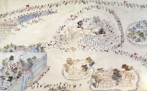 Chinese government forces attacking a rebel stronghold during the Taiping Rebellion, 1851-64