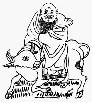 Chinese philosopher and founder of Taoism. Line drawing.