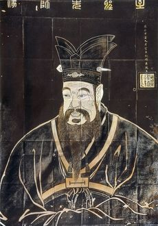 Chinese philosopher. Ink rubbing from a Chinese stele found at Xian, 1734.