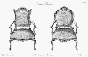 CHIPPENDALE CHAIRS, 1759. Designs for chairs in the French manner by Thomas Chippendale