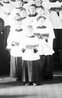 CHOIR, c1905. Boys in a vested choir at St. Mary's Mission in Detroit, Michigan