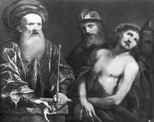 CHRIST BEFORE PILATE. Oil on canvas by Sir Anthony Van Dyck (1599-1641)