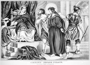 CHRIST BEFORE PILATE. Station Number 1. Lithograph, American, 1845