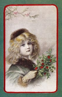 CHRISTMAS CARD. American Christmas card. Illustration, late 19th century