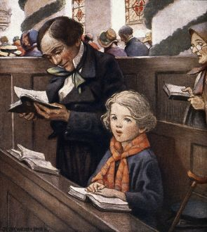 A CHRISTMAS CAROL. Bob Cratchit & his son Tiny Tim: illustration by Jessie Willcox Smith