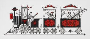 CHRISTMAS TRAIN. Drawing by William H. Bradley (1868-1962).
