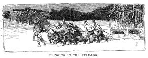 CHRISTMAS: YULE-LOG. 'Bringing in the Yule-Log' in colonial America, 17th century