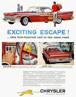 CHRYSLER AD, 1959. Chrysler automobile advertisment from an American magazine, 1959.