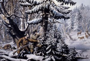 C&I: WINTER SPORTS, 1855. American Winter Sports - Deer Shooting 'On the Shattagee&#39