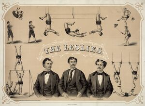 CIRCUS POSTER, c1873. 'The Leslies.' Lithograph, c1873
