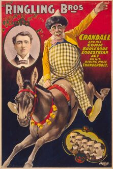 CIRCUS POSTER, c1899. 'Ringling Bros., Crandall and his comic burlesque equestrian