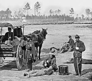CIVIL WAR: AMBULANCE, 1864. Zouave ambulance crew at the headquarters of the Army