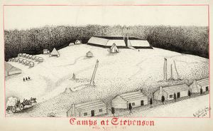 CIVIL WAR: CAMP, 1864. A Confederate camp at Stevenson, Alabama. Ink drawing by G
