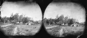 CIVIL WAR: HOUSES, 1865. View of houses in Mechanicsville, Virginia