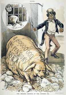 CIVIL WAR PENSIONS, 1888. 'The Amazing Growth of the Pension Pig.' American cartoon by C