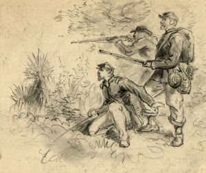 CIVIL WAR: SHARPSHOOTERS. Union sharpshooters. Drawing by Alfred R. Waud, c1863