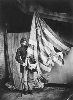 CIVIL WAR: SOLDIER. The flag bearer of the 8th Pennsylvania Reserves.