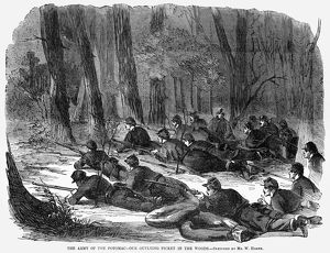 CIVIL WAR: SOLDIERS, 1862. Soldiers of the Army of the Potomac in the woods