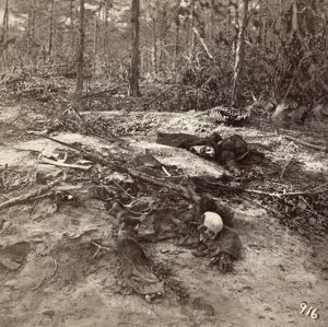 CIVIL WAR: UNBURIED DEAD. View of skeletal remains and uniforms several months